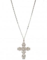 Kreuz-Halskette mit Zier-Edelsteinen