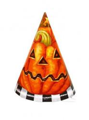 Halloween-Set 6 Kürbis-Papphüte