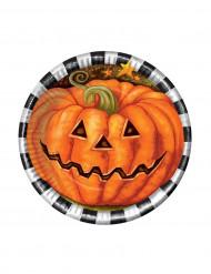 6 kleine Halloween Kürbis Pappteller