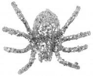 6 silbern glitzernde Spinnen