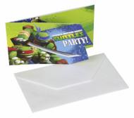 6 Einladungskarten mit Umschlag Ninja Turtles™