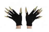 Schwarze Handschuhe mit langen goldenen Nägeln für Erwachsene