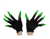 Schwarze Handschuhe mit langen, grünen Nägeln für Erwachsene
