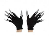 Schwarze Handschuhe mit langen, silbernen Nägeln für Erwachsene