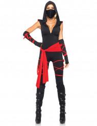 Ninja-Damenkostüm schwarz-rot
