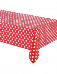 Rotes Tischtuch mit weißen Tupfen