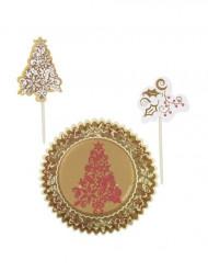 Weihnachts-Set Muffinformen und dekorative Peaks weiss-goldfarben-rot