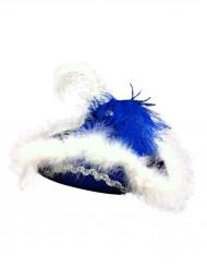 Funkenhut blau mit Feder für Damen