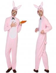 Weiß-rosa Hasen-Kostüm für Erwachsene