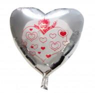 Luftballon Herz Silber