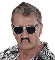 Zebra-Sonnenbrille mit Schnauzer für Erwachsene