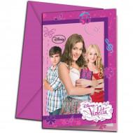 6 Violetta™ Einladungskarten mit Briefumschlag