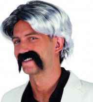 Grau melierte Perücke mit Bart für Herren