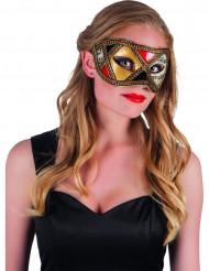 Venezianische Augenmaske in Gold Rot und Schwarz für Erwachsene