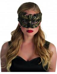 Schwarz-goldene Augenmaske mit Kopf für Erwachsene