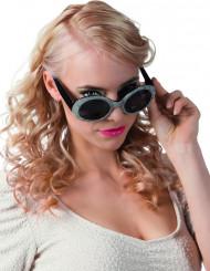 Schwarz-silberne Disco-Brille für Erwachsene