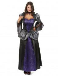 Vampir Kostüm für Damen mit Puffärmeln schwarz-lila-grau