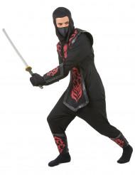 Ninjakostüm für Herren schwarz-grau-rot