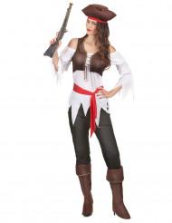 Piratin-Damenkostüm für Karneval bunt