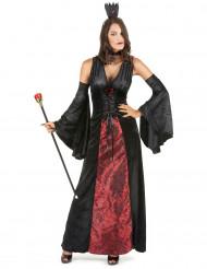 Vampirkleid für Damen mit Armstulpen schwarz-rot
