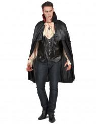 Vampirkostüm mit Umhang für Herren schwarz-weiß
