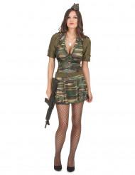 Soldatinkostüm für Damen grün-braun