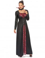 Langes Vampirkleid mit Totenkopfmuster für Damen schwarz-rot