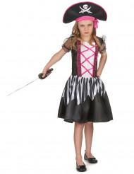 Süßes Piratinnen Mädchenkostüm schwarz-weiß-pink