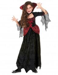 Vampir-Mädchenkostüm mit Spinnennetzärmeln schwarz-rot