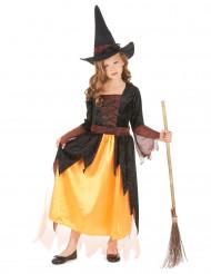 Hexenkostüm für Mädchen schwarz-rot-orange