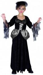 Schwarze Witwe Mädchen-Kostüm schwarz-weiss-grau