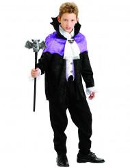 Edles Vampirkostüm für Jungen schwarz-weiß-lila
