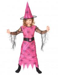 Spinnen-Hexen-Kostüm rosa für Mädchen