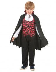 Vampir-Jungenkostüm mit Totenköpfen schwarz-weiß-rot