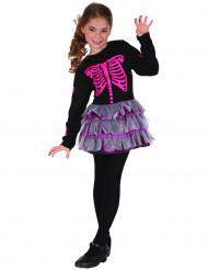 Rosa Skelett Kostüm für Mädchen