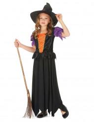 Hexen-Mädchenkostüm schwarz-orangefarben-violett