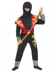 Ninja Kostüm in rot-gelb für Jungen