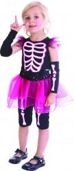 Rosa Skelettkostüm für Mädchen
