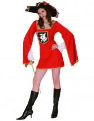 Musketier-Kostüm rot für Damen