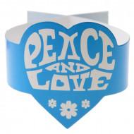 6 Serviettenringe im Hippie-Stil Peace and Love