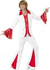 Rotes und weißes Disco Kostüm für Herren