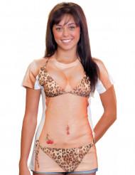 Leopard-Bikini T-Shirt für Damen