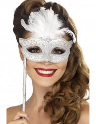 Venezianische Maske in weiß mit Feder
