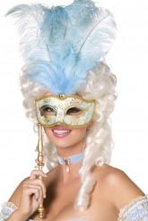 Venezianische Maske in gold-blau mit großer Feder