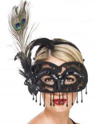 Schwarze Augenmaske mit Pfauenfeder für Erwachsene