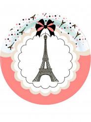 Eiffelturm Pappteller-Tischzubehör 8 Stück bunt 23cm
