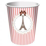 Paris Eiffelturm-Trinkbecher Tischzubehör 8 Stück rosa-weiss 266ml
