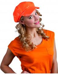 Paillettencap in Orange für Erwachsene