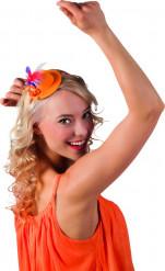 Orangener Mini-Hut für Erwachsene mit Federn in drei Farben