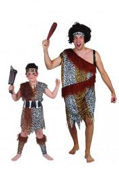 Steinzeitmenschen Paarkostüm für Vater und Sohn braun